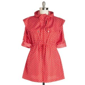Modcloth Red Polka Dot Raincoat